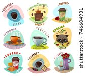 coffee shop isolated emblems... | Shutterstock .eps vector #746604931
