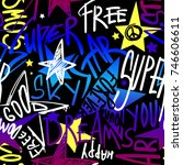 abstract seamless neon graffiti ... | Shutterstock .eps vector #746606611