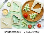 christmas funny sandwiches with ...   Shutterstock . vector #746606959