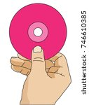 a hand holding compact disc  cd ... | Shutterstock .eps vector #746610385
