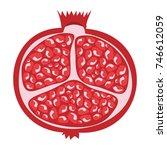 whole pomegranate design juicy... | Shutterstock .eps vector #746612059