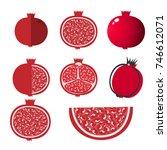 whole pomegranate design juicy...   Shutterstock .eps vector #746612071