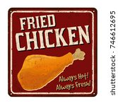 fried chicken vintage rusty... | Shutterstock .eps vector #746612695