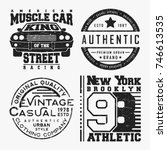 t shirt print design. set of... | Shutterstock .eps vector #746613535