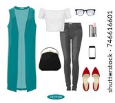 casual autumn outfit set for... | Shutterstock .eps vector #746616601