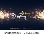 christmas background with... | Shutterstock .eps vector #746618281
