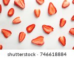 fresh strawberry slices on... | Shutterstock . vector #746618884