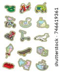 kids toy vector set sticker | Shutterstock .eps vector #746619361