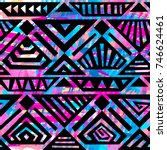 boho textile seamless pattern.... | Shutterstock .eps vector #746624461