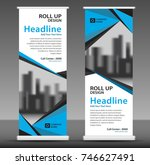 blue roll up banner template.... | Shutterstock .eps vector #746627491
