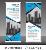 blue roll up banner template.... | Shutterstock .eps vector #746627491