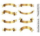 set of golden ribbons vector. | Shutterstock .eps vector #746635291