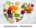 vegan salad  top view of buddha ... | Shutterstock . vector #746636221