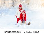 little girl and boy enjoying... | Shutterstock . vector #746637565