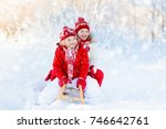 little girl and boy enjoying... | Shutterstock . vector #746642761
