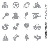 toys icons. gray flat design.... | Shutterstock .eps vector #746643679