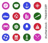 nautical icons. white flat... | Shutterstock .eps vector #746644189