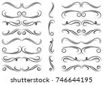 calligraphic design elements.... | Shutterstock .eps vector #746644195
