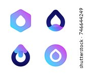 drops. cool vector icons or... | Shutterstock .eps vector #746644249