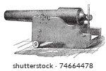 Parrott rifle or Parrott cannon old engraving. Old engraved illustration of a Parrott rifle cannon.
