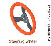 steering wheel icon. isometric... | Shutterstock .eps vector #746646325