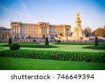 buckingham palace in london ... | Shutterstock . vector #746649394