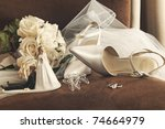 Bouquet Of White Roses  Rings...