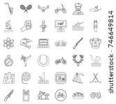 swimming icons set. outline... | Shutterstock .eps vector #746649814