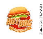 hot dog vector logo  fast food  ... | Shutterstock .eps vector #746656624