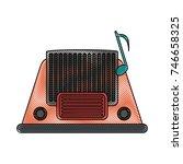 old radio stereo   Shutterstock .eps vector #746658325