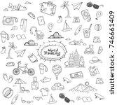 world traveling doodle | Shutterstock .eps vector #746661409