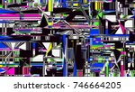 glitch background. computer... | Shutterstock .eps vector #746664205