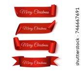 merry christmas. set red... | Shutterstock .eps vector #746667691