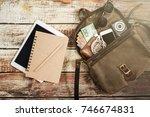 traveler items vacation travel... | Shutterstock . vector #746674831