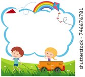 border template with boy and... | Shutterstock .eps vector #746676781
