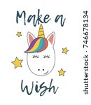 unicorn face with stars. make a ... | Shutterstock .eps vector #746678134