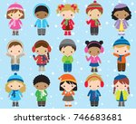 cute kids children in winter... | Shutterstock .eps vector #746683681