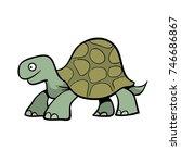 Stock vector cute cartoon turtle or giant tortoise 746686867