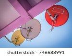 small satellite dishes... | Shutterstock . vector #746688991