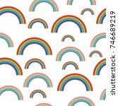 pastel rainbows   oldschool... | Shutterstock .eps vector #746689219