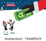 hand santa claus holding bonus... | Shutterstock .eps vector #746689624