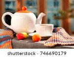 morning tea on the balcony. a... | Shutterstock . vector #746690179