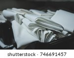 cloth table linens folded and... | Shutterstock . vector #746691457