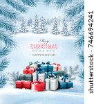 christmas holiday background... | Shutterstock .eps vector #746694241