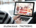 screen laptop computer with... | Shutterstock . vector #746700841