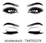 hand drawn woman's eyes with... | Shutterstock .eps vector #746701174