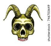 skull with horns. human skull... | Shutterstock .eps vector #746703649