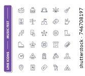 line icons set. music festival... | Shutterstock .eps vector #746708197