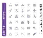line icons set. camping pack....