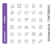 line icons set. fitness pack....